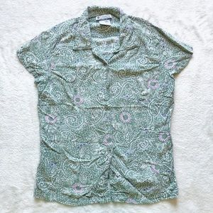 Columbia green floral button up tee shirt